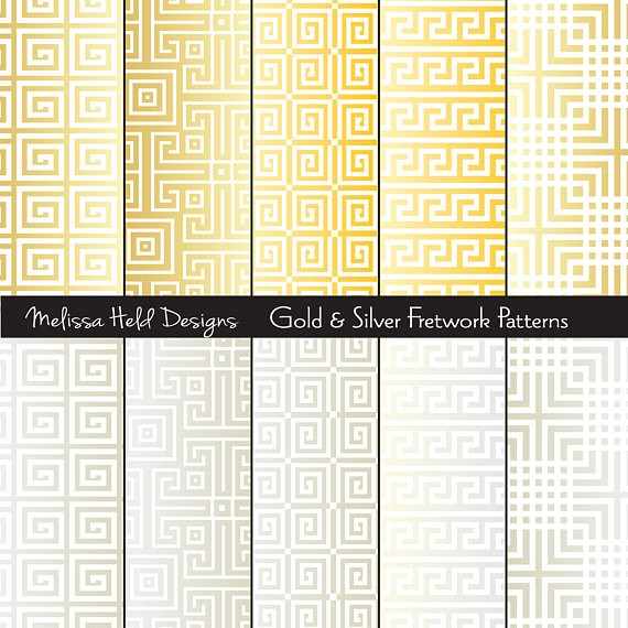 Gold and Silver fretwork Patterns Digital Paper & Backgrounds Melissa Held Designs    Mygrafico