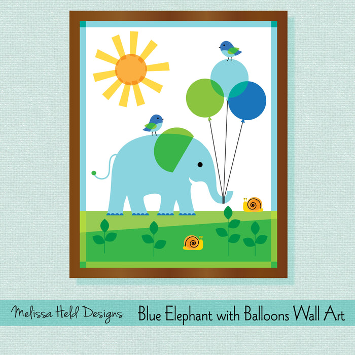 Blue Elephant with Balloons Wall Art Digital Paper & Backgrounds Melissa Held Designs    Mygrafico