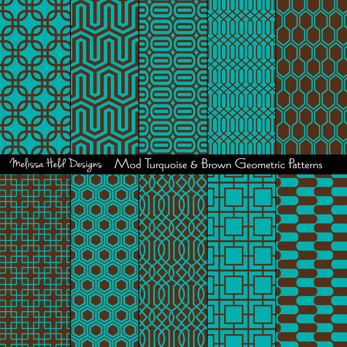 Mod Turquoise and Brown Geometric Patterns Digital Paper & Backgrounds Melissa Held Designs    Mygrafico