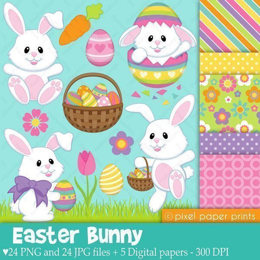 Easter Bunny Cliparts & Digital Papers  Pixel Paper Prints    Mygrafico
