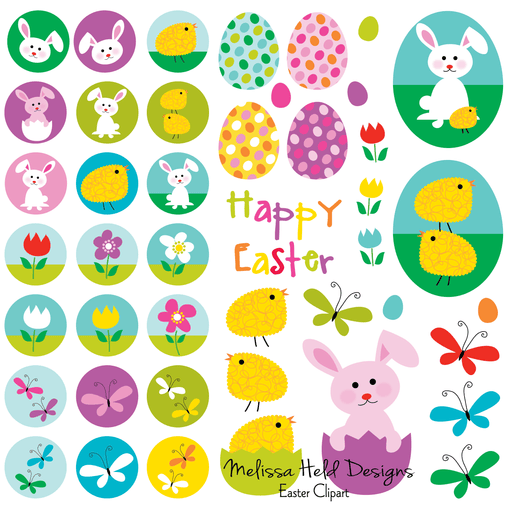 Easter Clipart - Motifs, Eggs, Bunnies and Flowers Cliparts Melissa Held Designs    Mygrafico