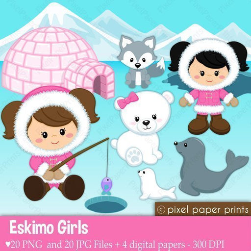 Eskimo Girl Clipart & Digital Papers  Pixel Paper Prints    Mygrafico