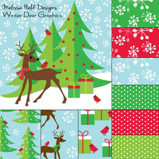 MHD Winter Deer Graphic and Patterns Digital Paper & Backgrounds Melissa Held Designs    Mygrafico