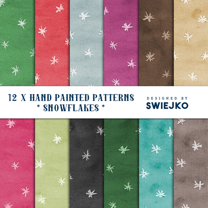 Snowflake Paper set, Christmas pattern Digital Paper & Backgrounds Swiejko    Mygrafico