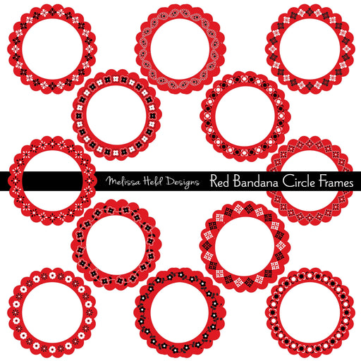 Red Bandana Circle Frames Cliparts Melissa Held Designs    Mygrafico