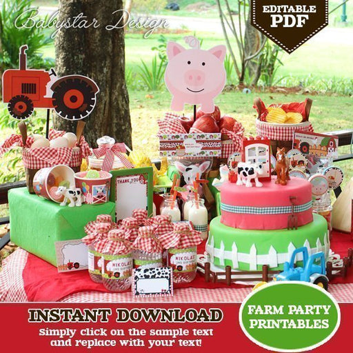Farm Barnyard Party Printables (Editable PDF)  Babystar Design    Mygrafico