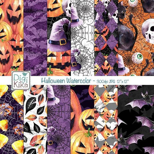 Halloween Watercolor Digital Papers, Autumn, Pumpkin, Bat, Black Cat, Witch Hat, Halloween Paper, Thanksgiving, Halloween Digital Papers Digital Paper & Backgrounds DigiKika    Mygrafico