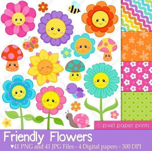Friendly Flowers  Pixel Paper Prints    Mygrafico