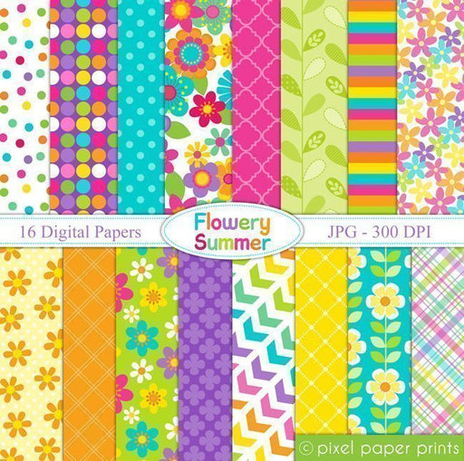 Flowery Summer Digital Papers & Backgrounds  Pixel Paper Prints    Mygrafico