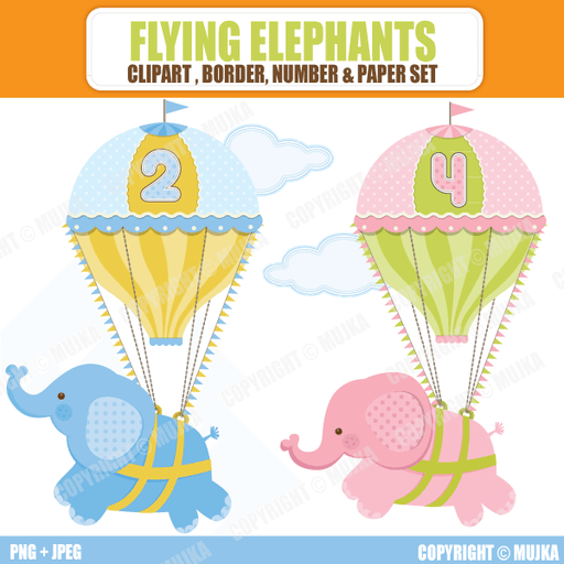 Flying Elephant Birthday Set  Mujka Chic    Mygrafico