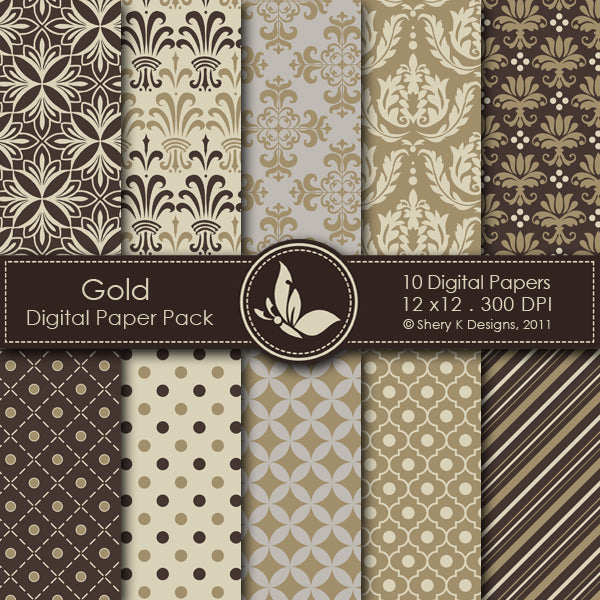 Gold - 10 Digital papers  Shery K Designs    Mygrafico