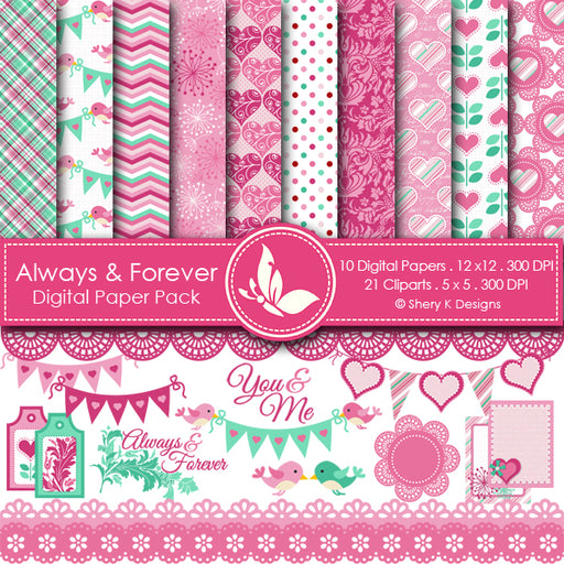 Always and Forever Paper and Clipart Party Printable Templates Shery K Designs    Mygrafico