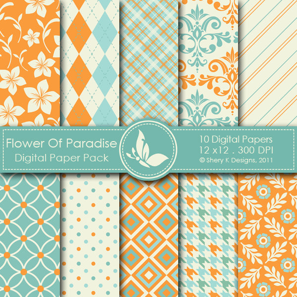 Flower Of Paradise - 10 Digital papers Digital Papers & Backgrounds Shery K Designs    Mygrafico