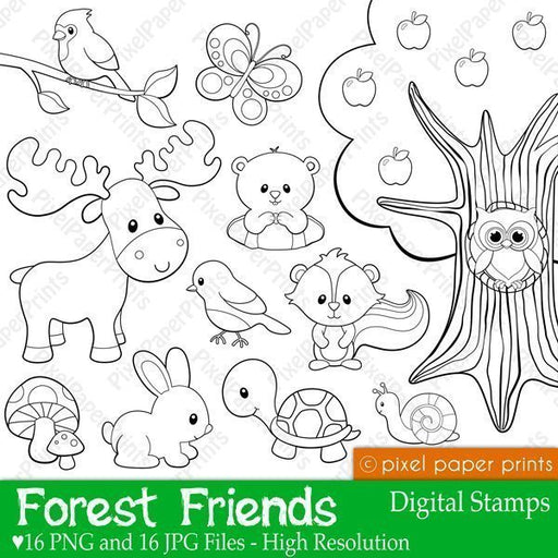 Forest Friends Digital stamps  Pixel Paper Prints    Mygrafico