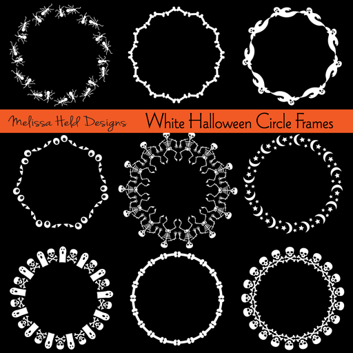 White Halloween Circle Frames Clipart Melissa Held Designs    Mygrafico