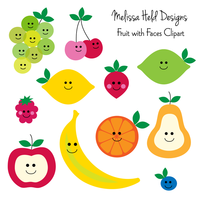Fruit With Faces Clipart Clipart & Digital Paper Melissa Held Designs    Mygrafico