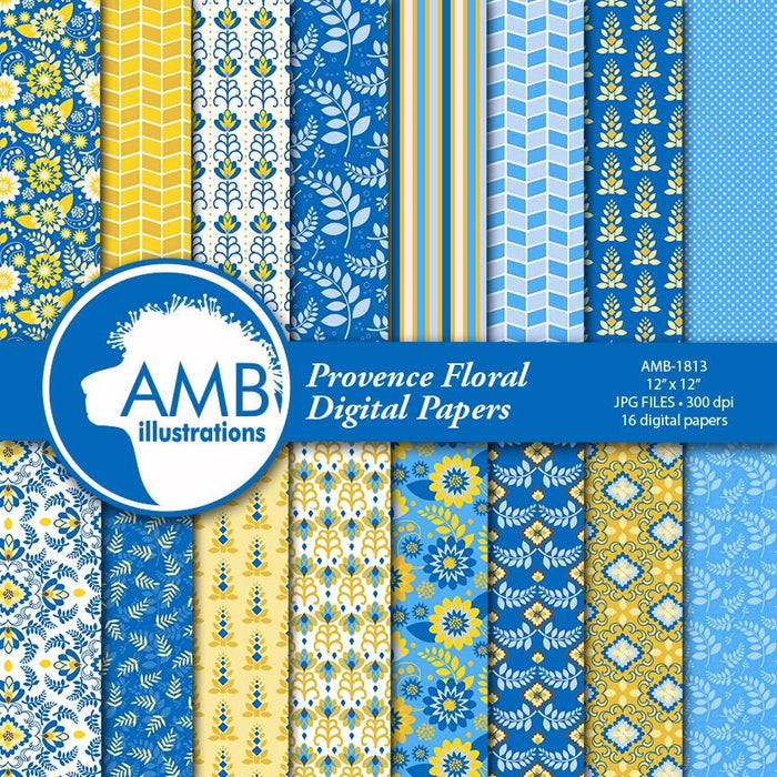 Blue Floral Digital Papers, Shabby chic papers, blue vintage flowers, Blue digital papers, blue and yellow floral pattern, AMB-1813 Digital Paper & Backgrounds AMBillustrations    Mygrafico