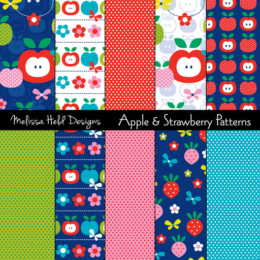 Apple and Strawberry Patterns Digital Paper & Backgrounds Melissa Held Designs    Mygrafico