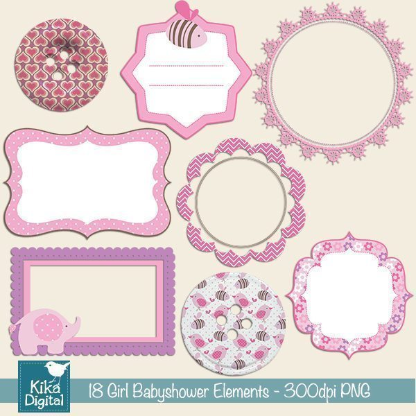 Girl Baby Shower Elements  Kika Digital    Mygrafico