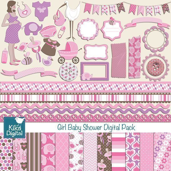Girl Baby Shower Bundle Set  Kika Digital    Mygrafico