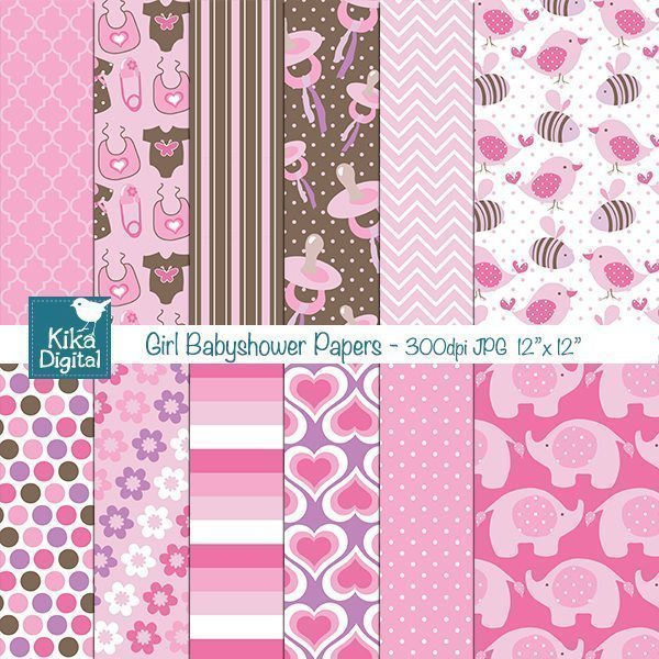 Girl Baby Shower Papers  Kika Digital    Mygrafico
