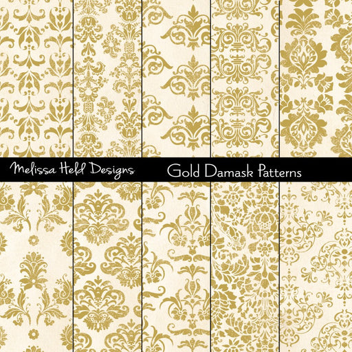 Gold Damask Patterns Digital Paper & Backgrounds Melissa Held Designs    Mygrafico