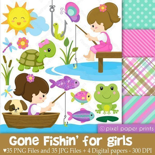 Gone Fishing Clipart for Girls  Pixel Paper Prints    Mygrafico