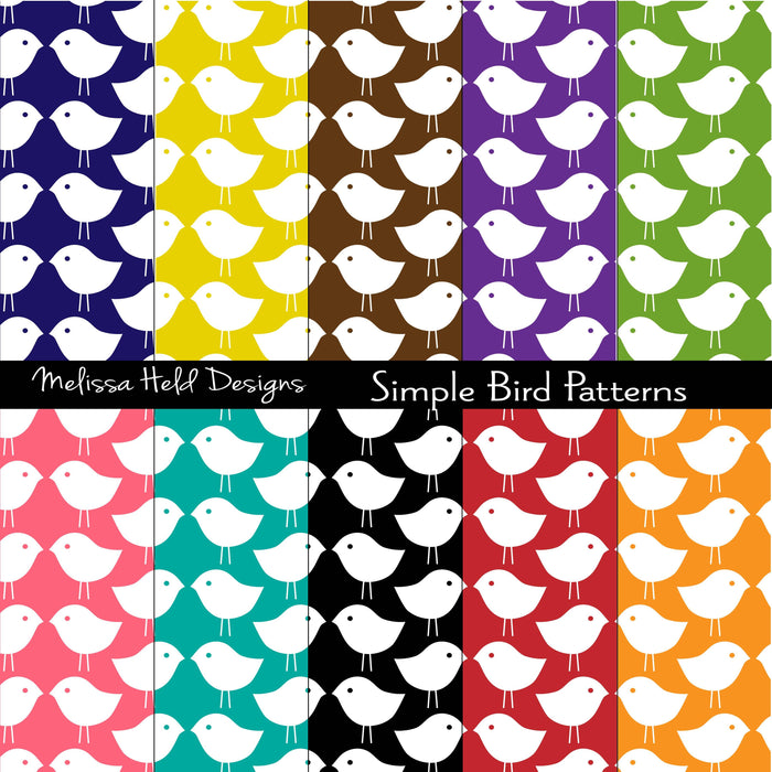 Simple Bird Patterns Digital Paper & Backgrounds Melissa Held Designs    Mygrafico
