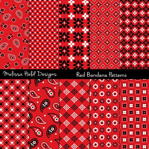 Red Bandana Patterns Digital Paper & Backgrounds Melissa Held Designs    Mygrafico