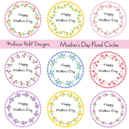 Mother's Day Floral Circle Frames Cliparts Melissa Held Designs    Mygrafico