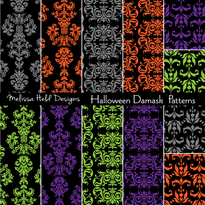 Halloween Damask Patterns Digital Papers & Backgrounds Melissa Held Designs    Mygrafico