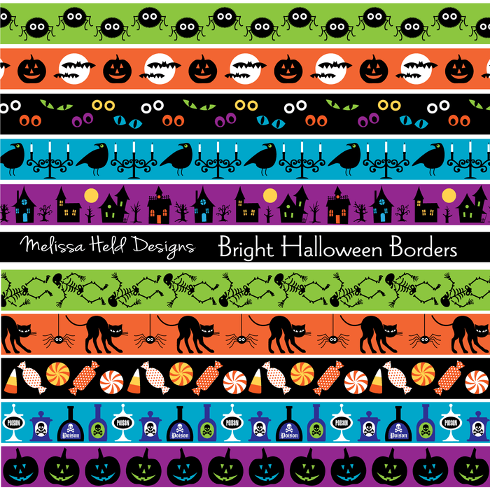 Bright halloween Border Patterns Digital Papers & Background Melissa Held Designs    Mygrafico
