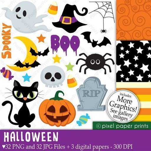 Halloween Elements Cliparts & Digital Papers  Pixel Paper Prints    Mygrafico