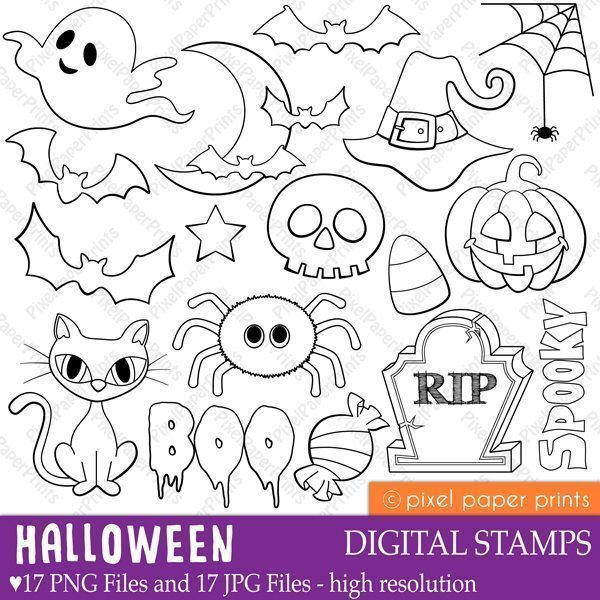 Halloween Digital Stamps  Pixel Paper Prints    Mygrafico