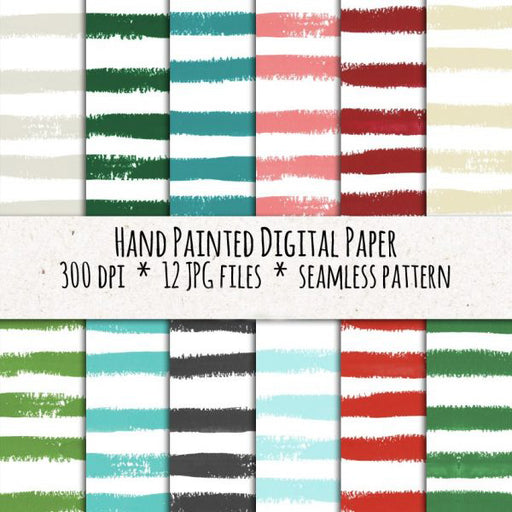 Digital paper, seamless stripes, Christmas colors Digital Paper & Backgrounds Swiejko    Mygrafico