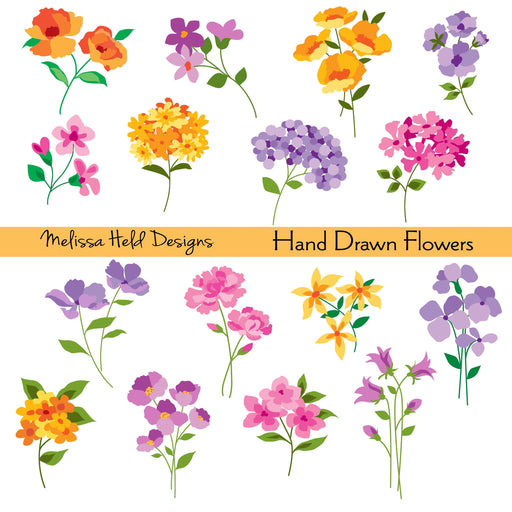 Hand Drawn Flowers Clipart Clipart Melissa Held Designs    Mygrafico
