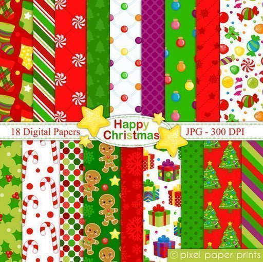 Happy Christmas - Digital papers  Pixel Paper Prints    Mygrafico