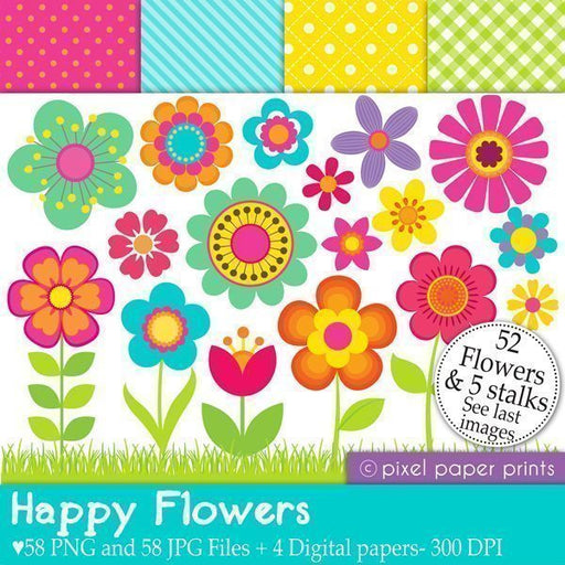 Happy Flowers  Pixel Paper Prints    Mygrafico