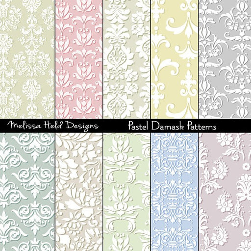 Pastel Damask Patterns Digital Paper & Backgrounds Melissa Held Designs    Mygrafico