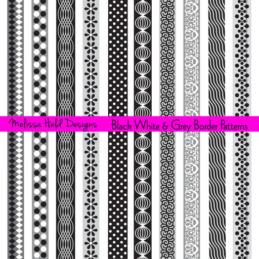Black, White, and Grey Border Patterns Cliparts Melissa Held Designs    Mygrafico