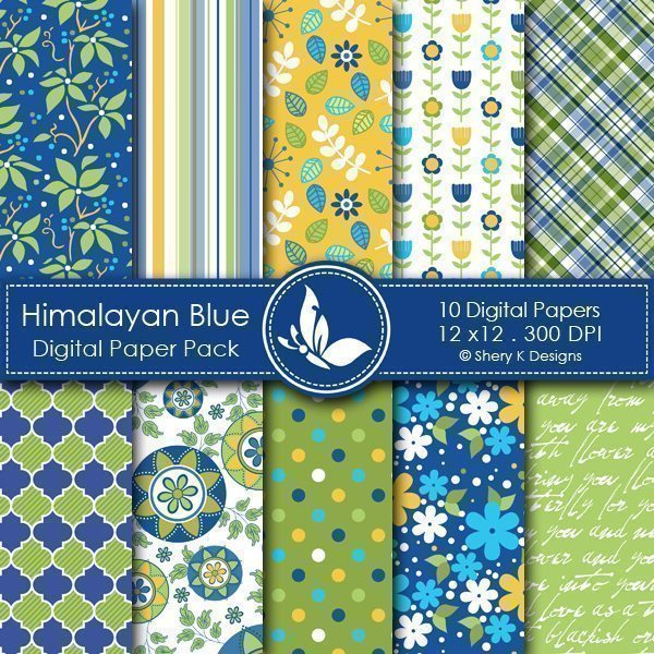 Himalayan Blue - 10 Digital papers  Shery K Designs    Mygrafico