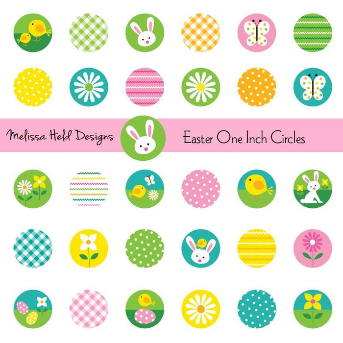 Easter One Inch Circles Digital Paper & Backgrounds Melissa Held Designs    Mygrafico