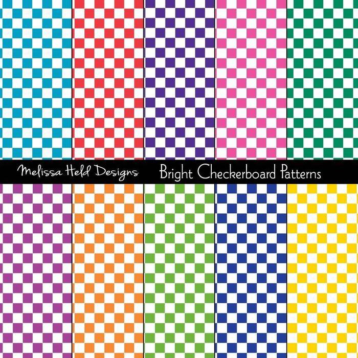 Bright Checkerboard Patterns Digital Paper & Backgrounds Melissa Held Designs    Mygrafico