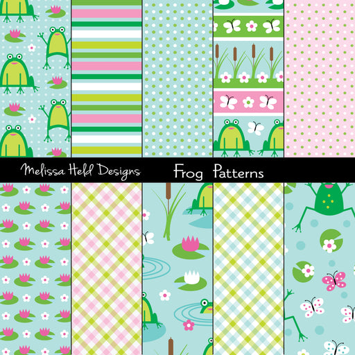 Frog Patterns Digital Paper & Backgrounds Melissa Held Designs    Mygrafico