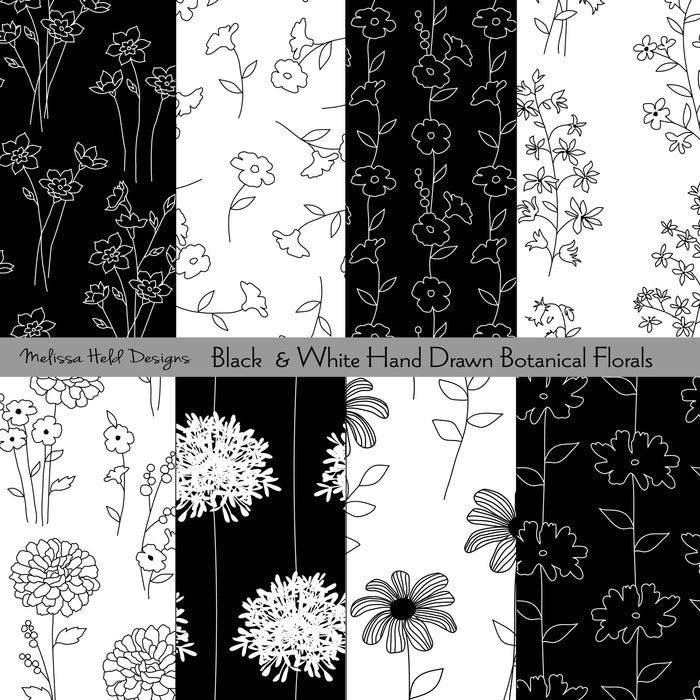 Black and White Hand Drawn Botanical Florals Digital Paper & Backgrounds Melissa Held Designs    Mygrafico