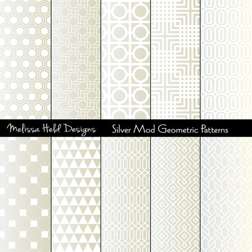 Silver Mod Geometric Patterns Digital Paper & Backgrounds Melissa Held Designs    Mygrafico