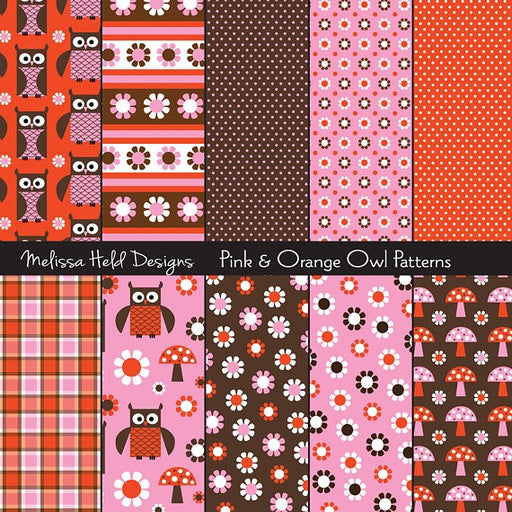 Pink and Orange Owl Patterns Digital Paper & Backgrounds Melissa Held Designs    Mygrafico