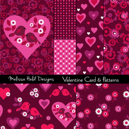 Valentine Card and Patterns Digital Paper & Backgrounds Melissa Held Designs    Mygrafico