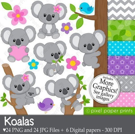 Koalas Clipart and Digital paper set  Pixel Paper Prints    Mygrafico
