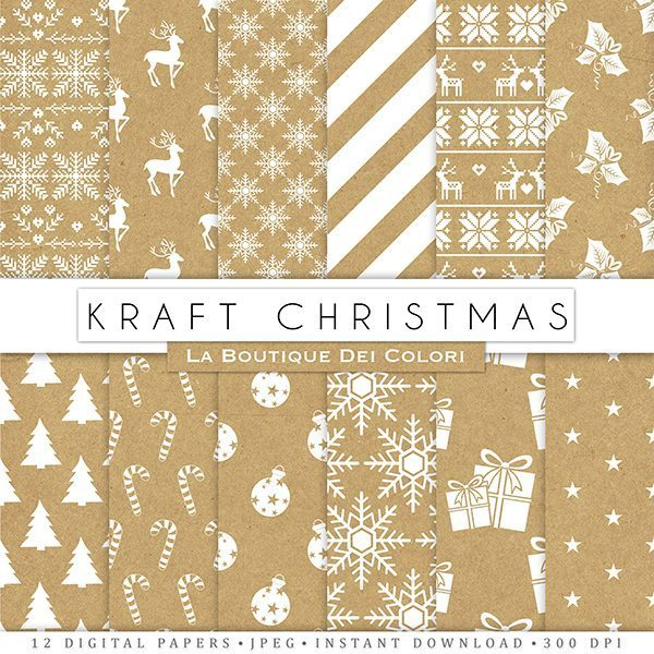 Kraft paper Christmas Digital Paper  La Boutique Dei Colori    Mygrafico